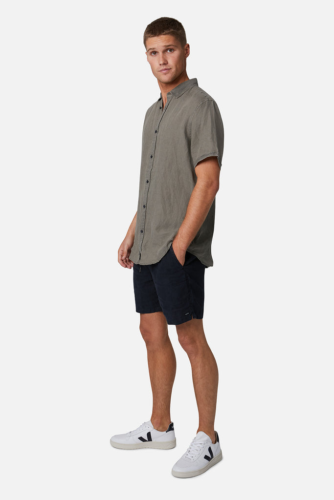The Tennyson Linen S/S Shirt - Dark Forest