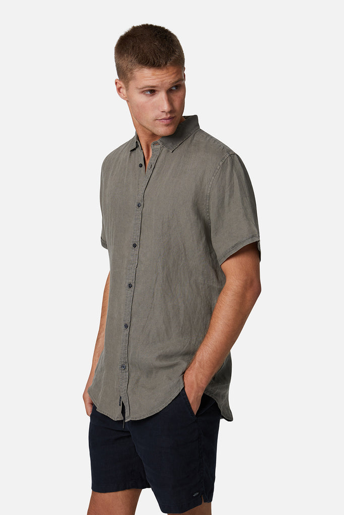 The Tennyson Linen S/S Shirt - Od Dark Forest