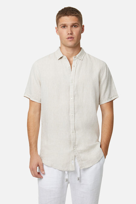 The Tennyson Linen S/S Shirt - Oatmeal