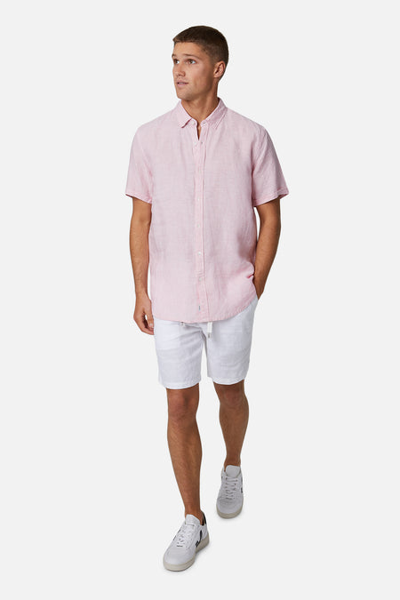The Tennyson Linen S/S Shirt - Rose Yd