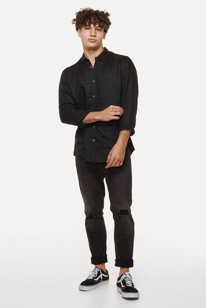 The Tennyson Linen L/S Shirt - Black
