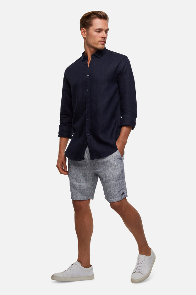 The Tennyson Linen L/S Shirt - Dark Navy