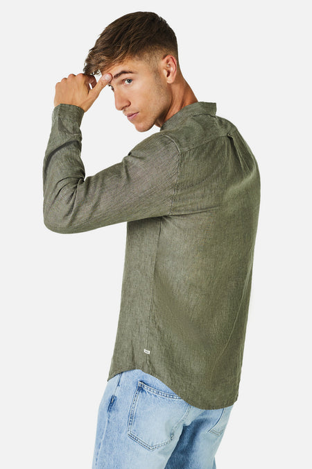 The Tennyson Linen L/S Shirt - Mid Army