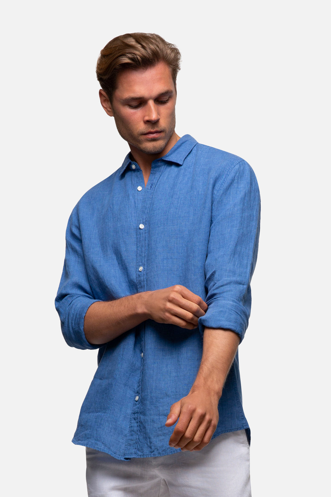 The Hampton Linen L/S Shirt - Light Indigo