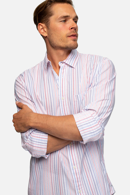 The Wheaton Linen L/S Shirt - Indigo Rust