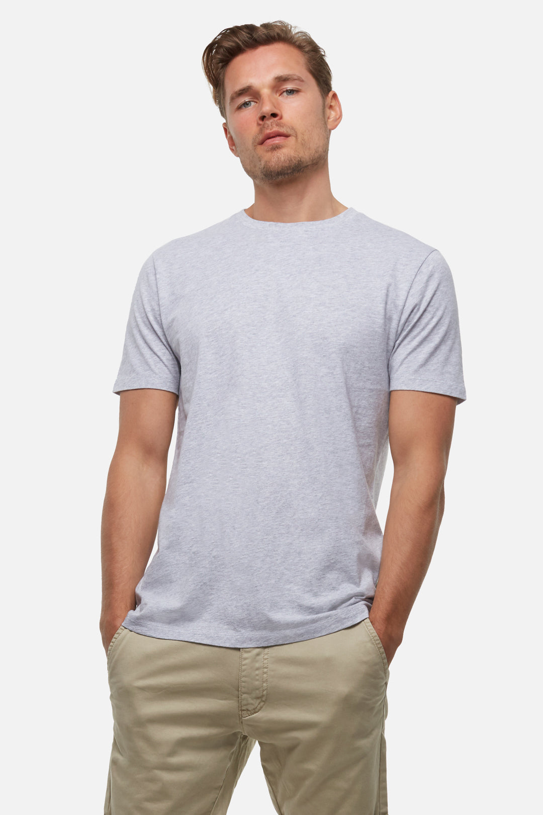 The New Basic Crew Tee - Light Grey Marle