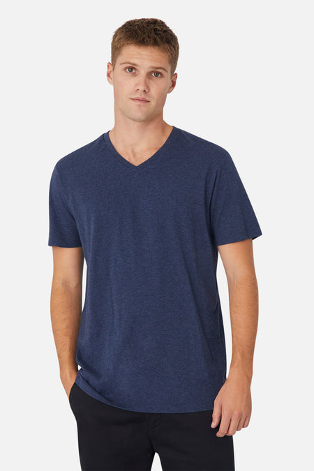 The New Basic Vee Tee - Navy Marle