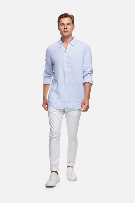 The Marco Linen L/S Shirt - Light Blue Combo