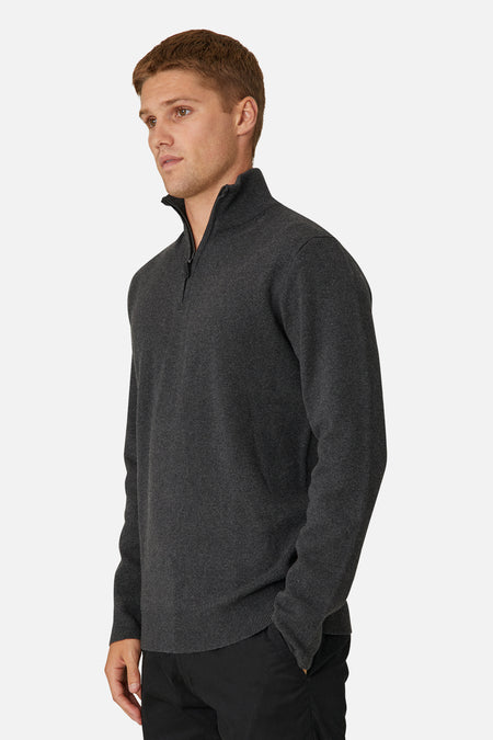 The Lakewood Zip Neck Knit - Charcoal 20