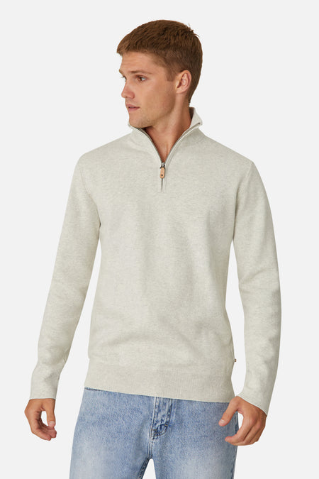 The Lakewood Zip Neck Knit - Oatmeal 20