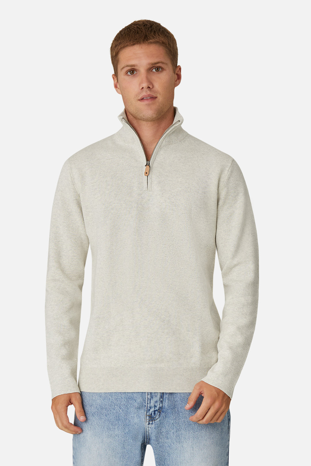 The Lakewood Zip Neck Knit - Oatmeal