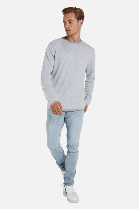 The Cashmere Blend Stripe Knit - Grey Off White