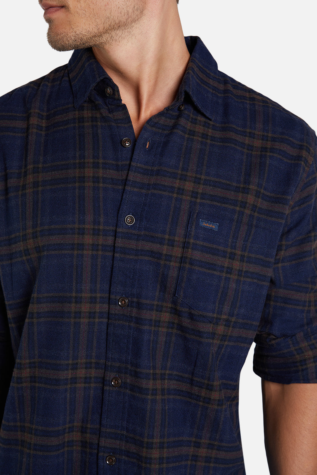 The Holt L/S Shirt - Navy Brown