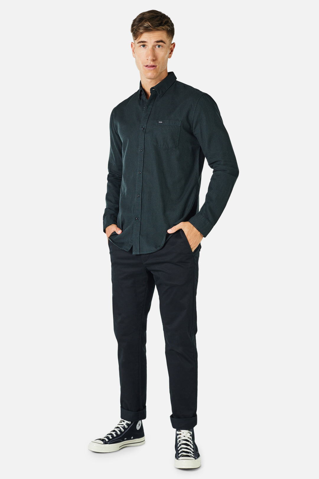 The Harvey L/S Shirt - Green/Blk