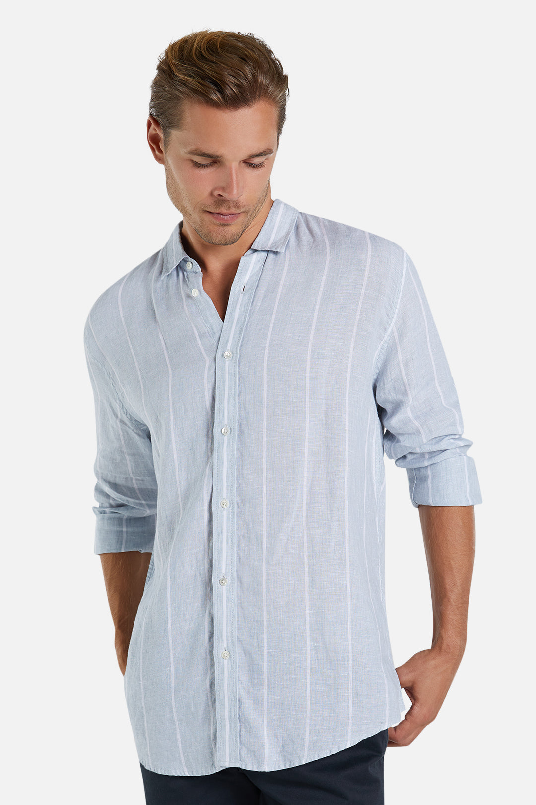 The Baja Linen L/S Shirt - Vintage Blue White