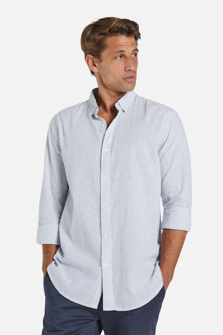 The Jarvis Linen L/S Shirt - White Navy