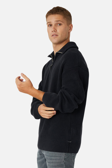 The Ryan Zip Neck Knit - Black