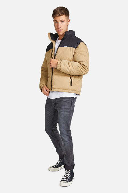The Lenox Puffer Jacket - Camel/Blk