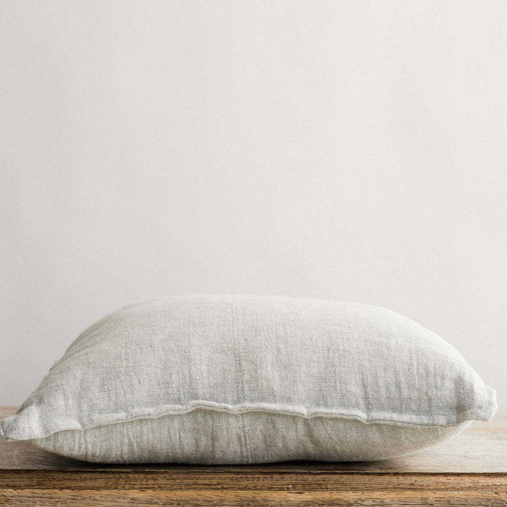 "Handmade Linen Cushion square ""Summerbreeze Soft Grey"""