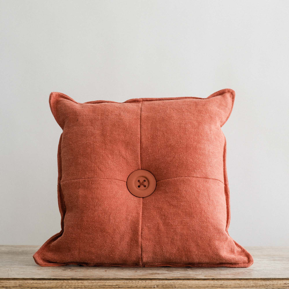 "Handmade Linen Cushion square ""Library Red"""