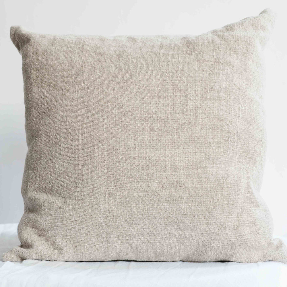 "Handmade Linen Cushion square ""Summerbreeze Ivory"""
