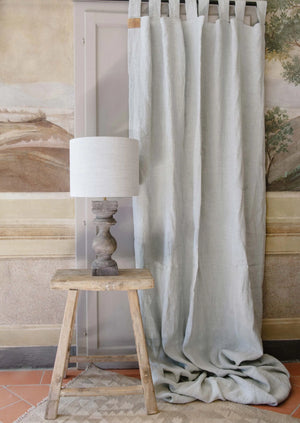 "Handmade linen Curtain with loops and curtain holdback ""Antique Rose"""