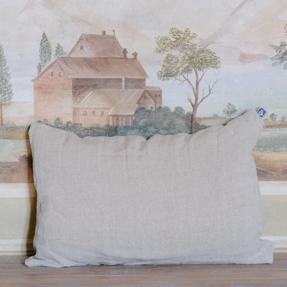 "Handmade Linen Cushion lumbar ""Hemp Old Mauve"""