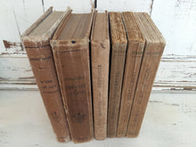 Load image into Gallery viewer, French Antiquarian Brown Book Stack. Six Antique French Classics. French Literature Rabelais, Molière & Jean Jacques Rousseau. Antique Books