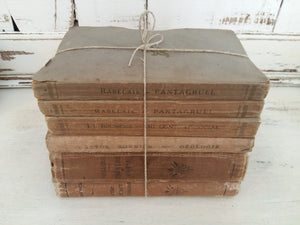 French Antiquarian Brown Book Stack. Six Antique French Classics. French Literature Rabelais, Molière & Jean Jacques Rousseau. Antique Books