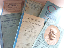 Load image into Gallery viewer, Antique French 'Turquoise Blue' Book Bundle. Boho Book Stack of French School Books. Timeworn Books for Decoration and Bookshelf Styling.