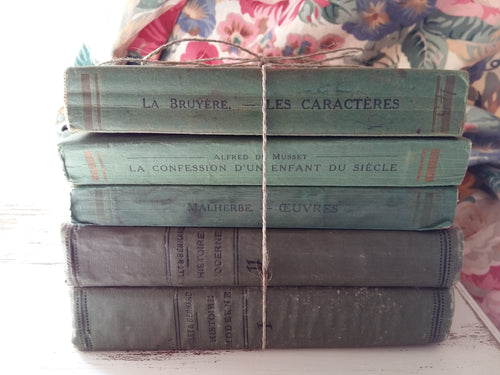 Antique French Green Book Bundle. Green Book Stack. Early 1900's Books by Malherbe, La Bruyère & Alfred de Musset. Green Bookshelf Décor