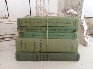 Antique French Green Book Bundle. Green Book Stack. 1900s Antiquarian Books by Montaigne, Balzac & Alfred de Musset. Antique French Classics