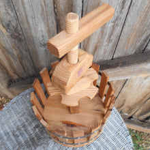 Load image into Gallery viewer, Wooden Wine Carrier. Wine Grape Press Shaped Six Bottle Wine Carrier. French, Barrel Wine Holder. Perfect for Picnics and Outdoor Dining.