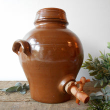 Load image into Gallery viewer, French Terracotta Oil Jar. Large Clay Oil Jar with Two Handles and Tap/Cork Opening. Rustic Farmhouse Décor. Handmade Pottery Oil Urn & Lid.