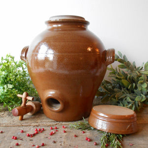 French Terracotta Oil Jar. Large Clay Oil Jar with Two Handles and Tap/Cork Opening. Rustic Farmhouse Décor. Handmade Pottery Oil Urn & Lid.