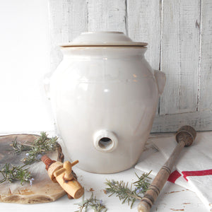 French White Stoneware Oil Jar. White Clay Oil Jar with Lid, and Tap/Cork Opening. French Country Kitchen Décor. Hand Glazed Pottery Oil Urn