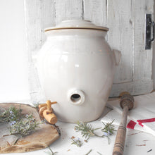 Load image into Gallery viewer, French White Stoneware Oil Jar. White Clay Oil Jar with Lid, and Tap/Cork Opening. French Country Kitchen Décor. Hand Glazed Pottery Oil Urn