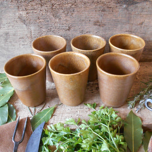 Six Digoin Stoneware Tumblers. Medieval Re-enactment Pottery Goblets. Gréspots Ceramic Cups. Cups for Reenactment. Medieval Drinking Vessels