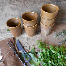 Load image into Gallery viewer, Six Digoin Stoneware Tumblers. Medieval Re-enactment Pottery Goblets. Gréspots Ceramic Cups. Cups for Reenactment. Medieval Drinking Vessels