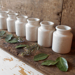Set of Six White Mustard Jars with Speckled Flecks Glaze. Jeanne d'Arc Living Style Décor. French White Mustard Crocks. Herb Jars. White Jar