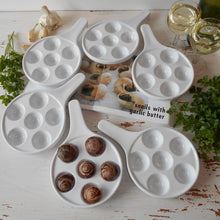 Load image into Gallery viewer, Set of Six, White, French Snail Plates. Vintage Snail Dish. Jeanne d'Arc Style Living. Ceramic Egg Trays. Baked Mushroom Dishes. Tapas Dish.