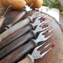 Load image into Gallery viewer, Collection of Seven Vintage, French, Potato Forks With Wooden Handles. Potato Peeling Forks. Three Pronged Forks. Rustic Three Tine Fork.