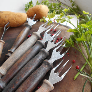 Collection of Seven Vintage, French, Potato Forks With Wooden Handles. Potato Peeling Forks. Three Pronged Forks. Rustic Three Tine Fork.