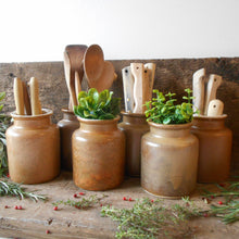 Load image into Gallery viewer, Six Vintage Stoneware Mustard Crocks. Rustic, French Mustard Jars. Herb Jars for Kitchen Decoration, Display & Storage. Stoneware Spice Jars