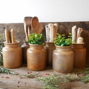 Six Vintage Stoneware Mustard Crocks. Rustic, French Mustard Jars. Herb Jars for Kitchen Decoration, Display & Storage. Stoneware Spice Jars