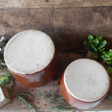 Load image into Gallery viewer, Set of Two Large French Confit Pots. French Country Kitchen Farmhouse Decor. Rustic, Confit Jars. Kitchen Utensil Storage Jars. Confit Pot.