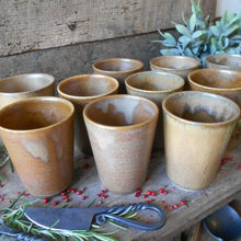 Load image into Gallery viewer, Ten Digoin Stoneware Tumblers. Medieval Re-enactment Pottery Goblets. Gréspots Ceramic Cups. Cups for Reenactment. Medieval Drinking Vessels