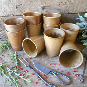 Ten Digoin Stoneware Tumblers. Medieval Re-enactment Pottery Goblets. Gréspots Ceramic Cups. Cups for Reenactment. Medieval Drinking Vessels