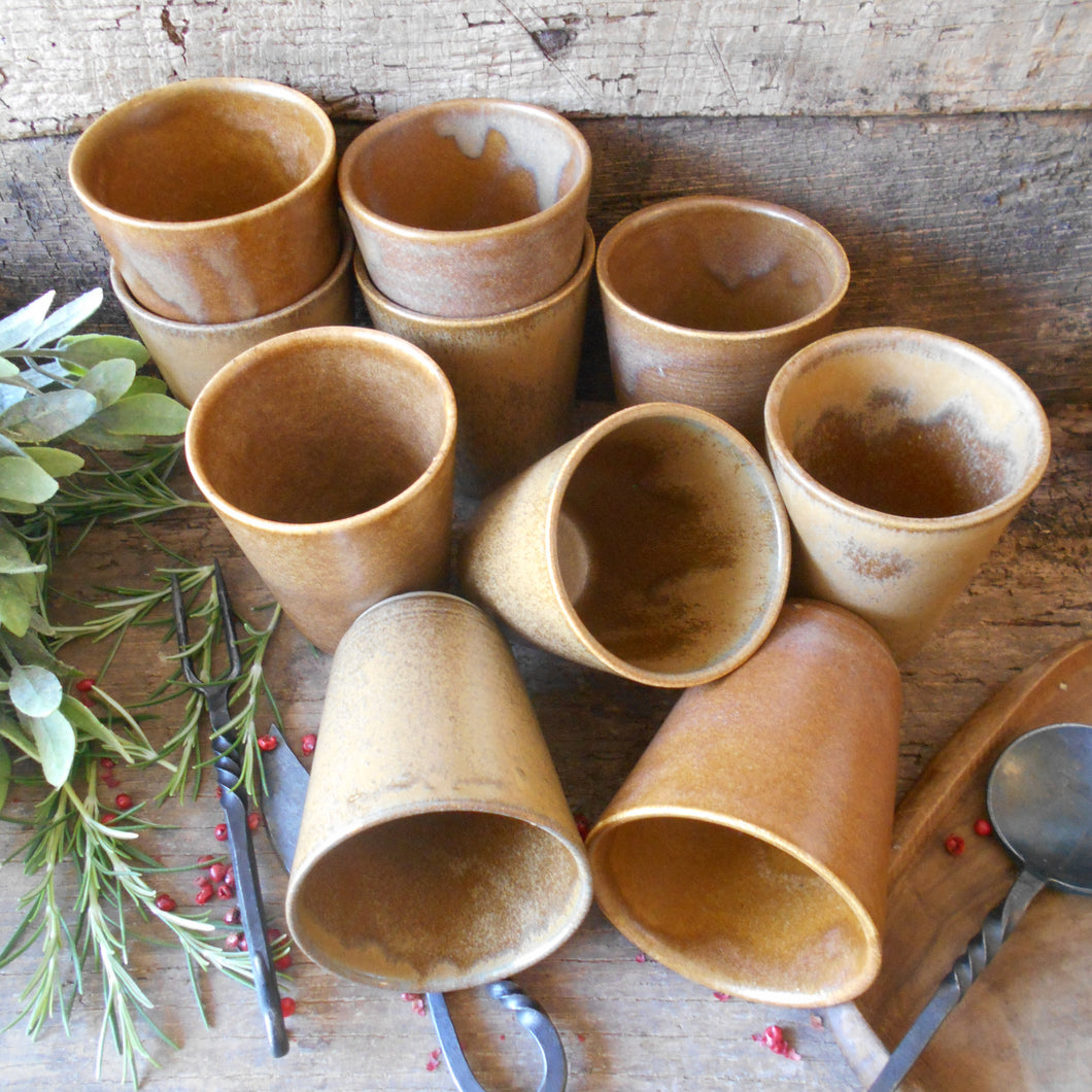 TWELVE Digoin Stoneware Tumblers. Medieval Re-enactment Pottery Goblets. Gréspots Ceramic Cups. Reenactment Cups. Medieval Drinking Vessels
