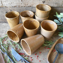 Load image into Gallery viewer, Eight Digoin Stoneware Tumblers. Medieval Re-enactment Pottery Goblet. Gréspots Ceramic Cups. Cups for Reenactment. Medieval Drinking Vessel
